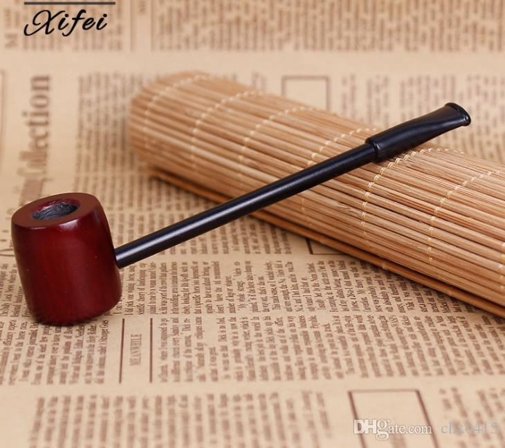 New red sandalwood flat bottomed pole, poppet pipe, solid wood portable cigarette smoking accessories