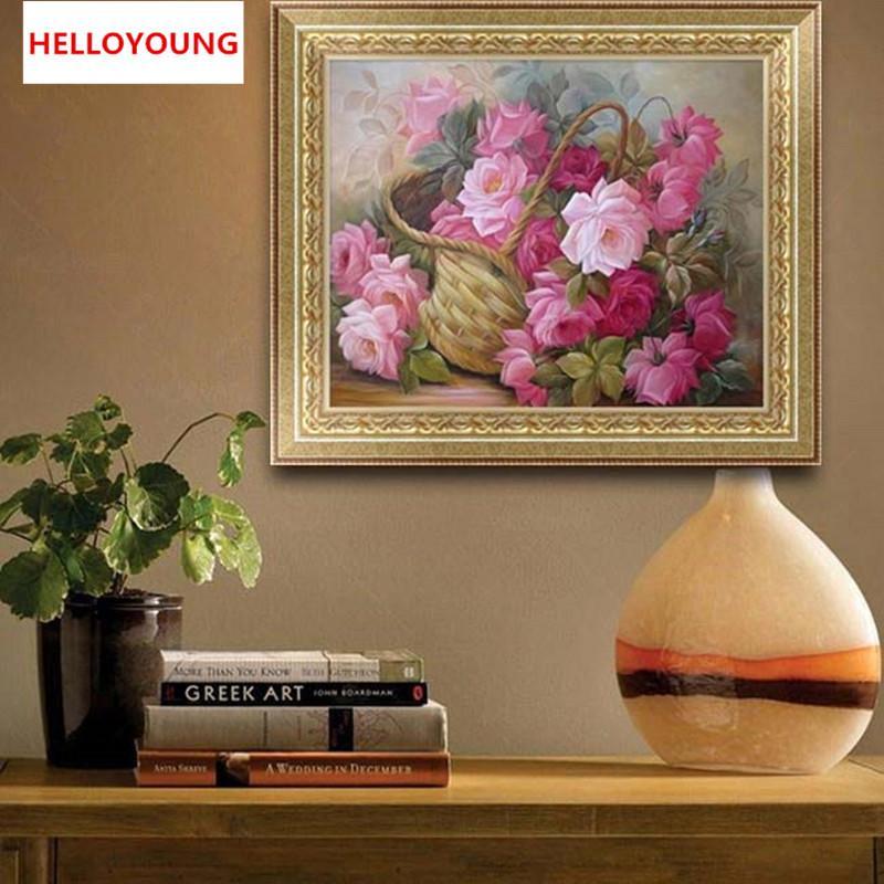 Satın Al Diy 5d Elmas Nakış Güzel çiçek Sepeti Yuvarlak Elmas Boyama