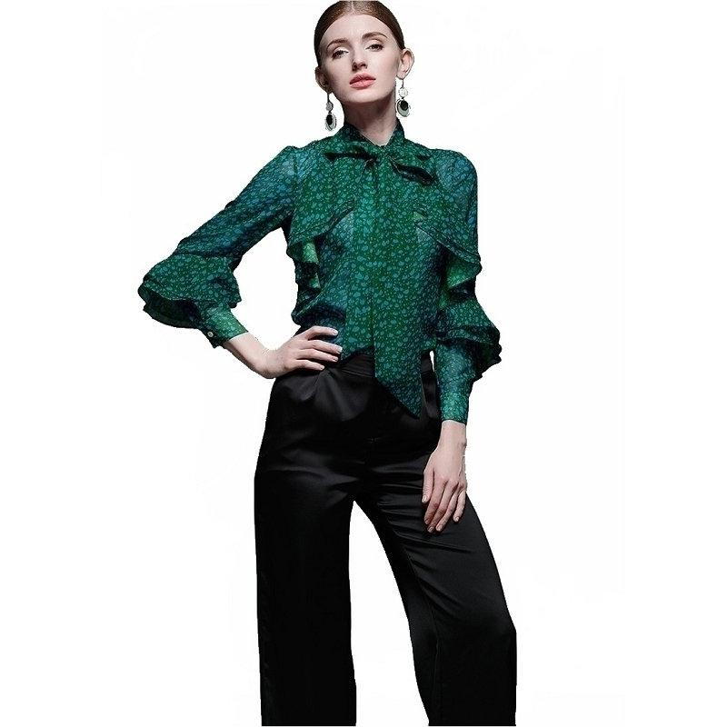 6ed9bb414b137 2019 New Spring Autumn Tops Office Ladies Blouse Fashion Long Flare Sleeve  Bow Slim Shirt Female Cute Bodycon Work Blouses Blusas From Sincha