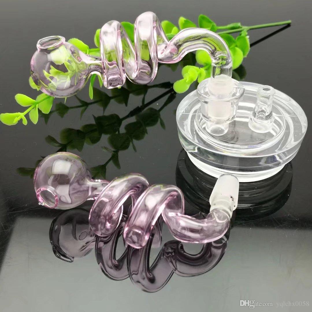 maceta Rosa espiral doble por mayor de bongs quemador de aceite de vidrio Tubos Tubos de agua de tuberías de vidrio plataformas petrolíferas fumadores, envío libre