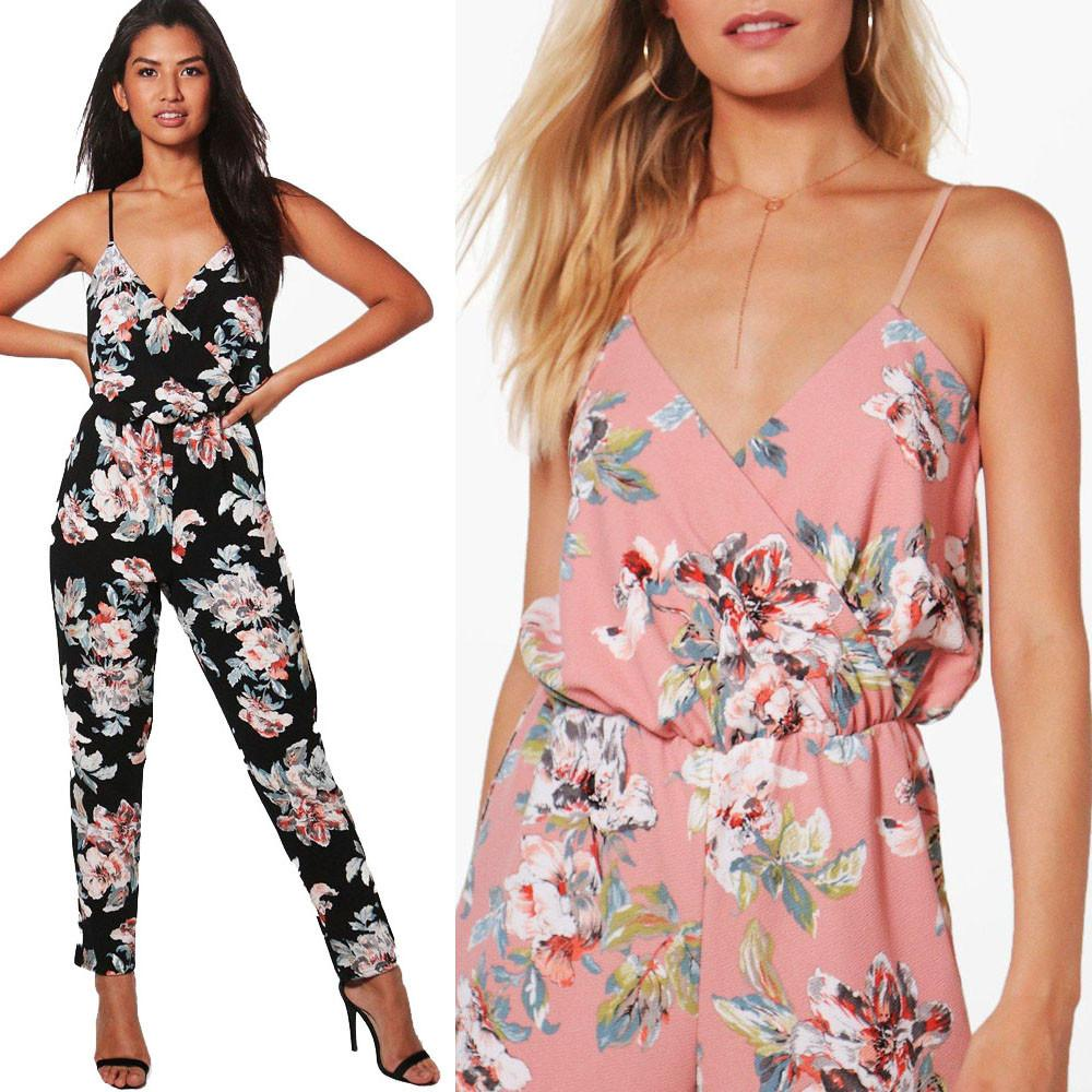 bfaaa633424 2019 Women Jumpsuit V Neck Floral Printed Sleeveless Party Trousers  Bodysuit Macacao Feminino Monos Cortos De Mujer Women S Costumes From  Fafachai09