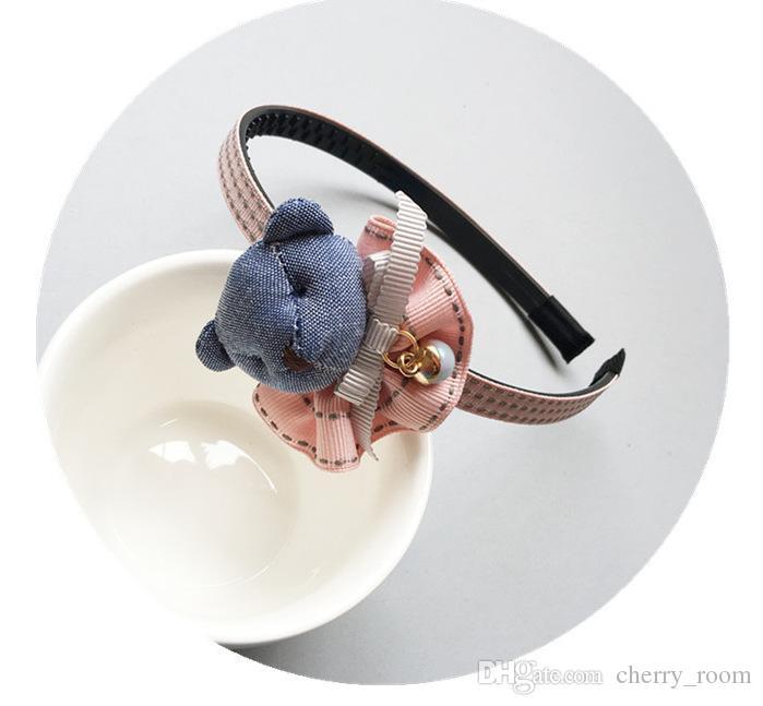 Cartoon Baby Girls hair accessories Korean Stereo Bunny Flower Lace Children Hair Bows Rabbit Kids Headbands Girl Hair Sticks C3335