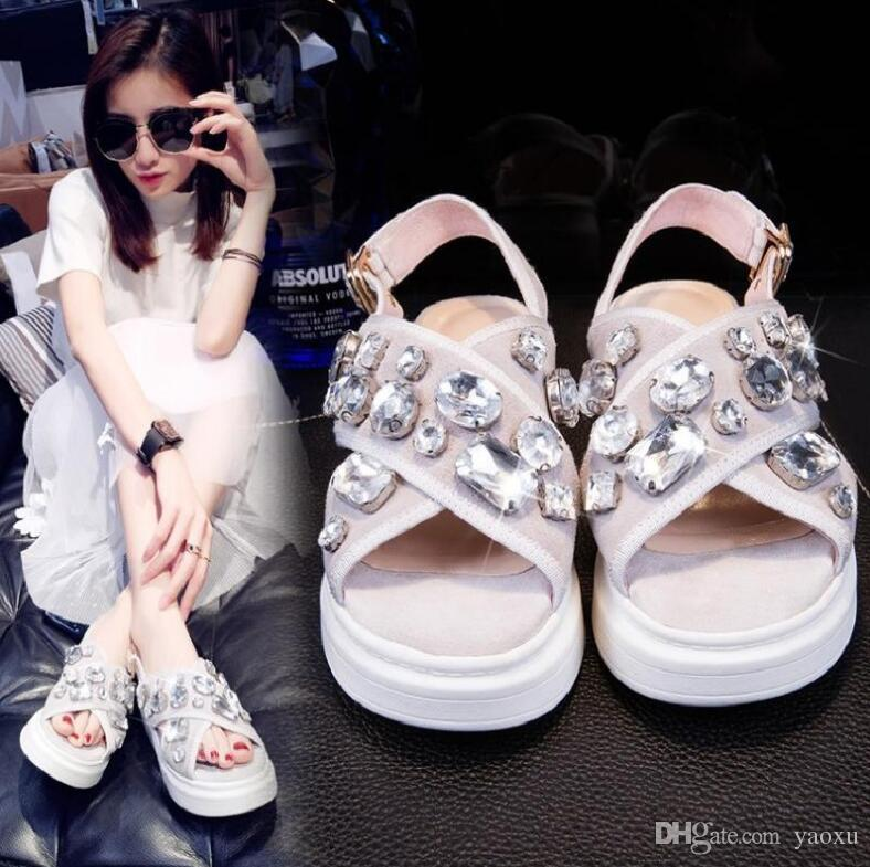 2018 Genuine Leather Women Sandals Sexy Crystal Gladiator Sandals Fashion Wedges Platform Summer Shoes Woman 1NX16