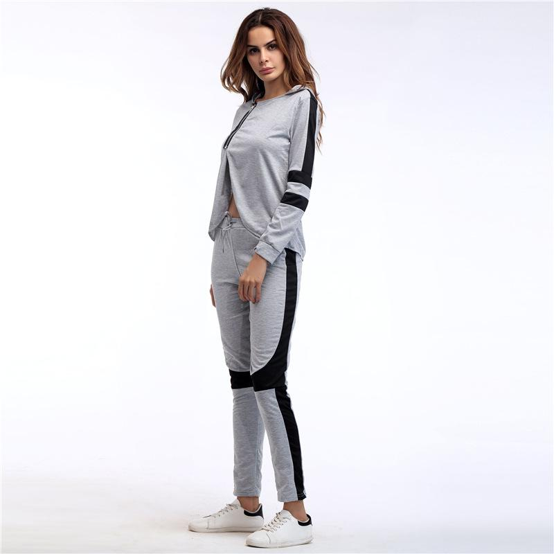 Spring Women Sport Suit Fashion Tracksuits Women Zipper Designer Long Sleeves Casual Hooded Pullover Top With Jogging Pants