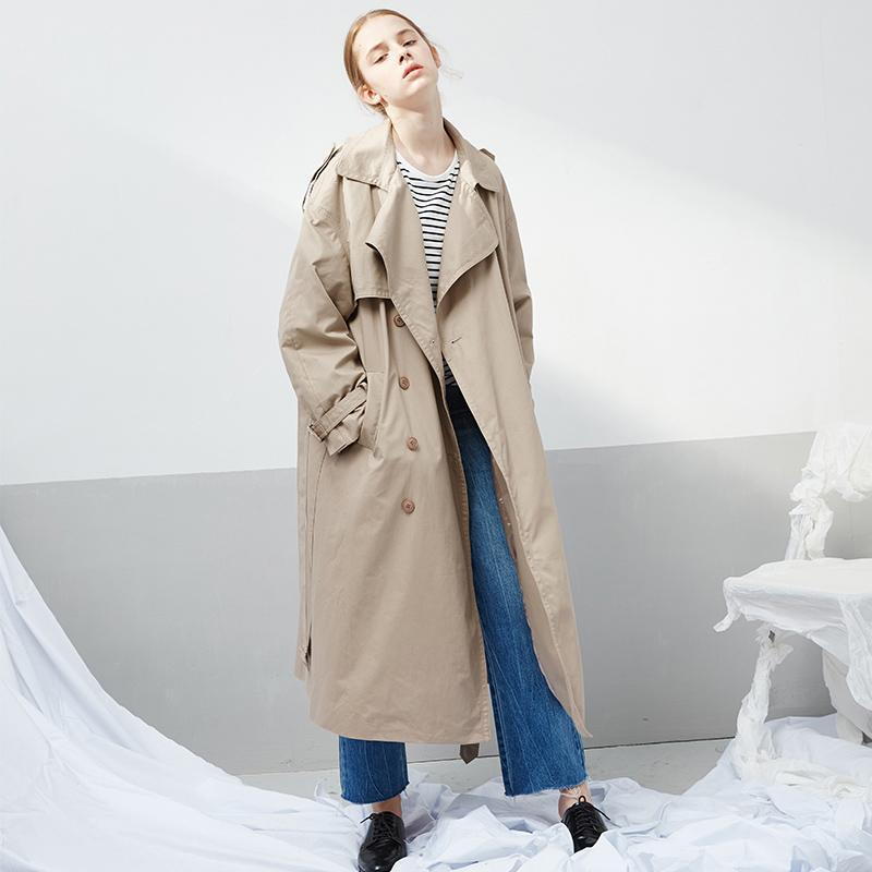 new style 8ffcc 7039f moda british stile classico cachi signore cappotto giacca a vento allentato  lungo trench cappotto 2018 primavera autunno cappotto donna abbigliamento