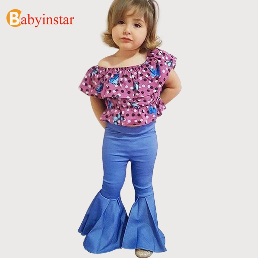 c690657e2 Babyinstar Girls Denim Bell-bottoms Pants 2018 New Solid Jeans Children's  Clothing Casual Clothing Kids Vintage Style Jeans