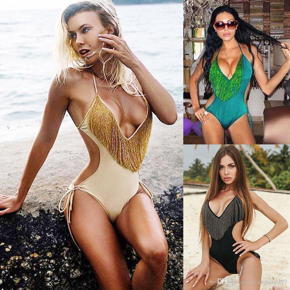 2019 2018 New Women Hot One Piece Sexy Tassel Bikini Deep V Swimsuit Padded Tie String Halter Low Waist Fringed Swimwear Bathing Suit Swim Wear From