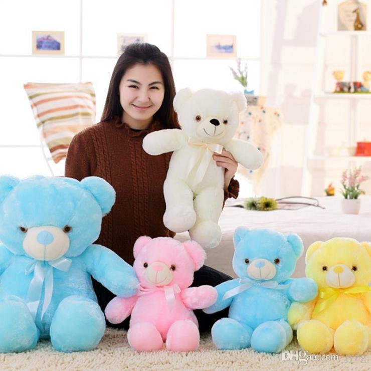30cm 50cm bunt leuchtende Teddybär leuchtende Plüschtiere Kawaii leuchten LED Teddybär Plüschpuppe Kinder Weihnachtsspielzeug