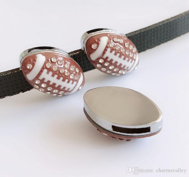8mm Full Rhinestone Football Sports Charms Slide Charms Fit Pet Dog Cat Collar Belts Wristband Jewelry Making
