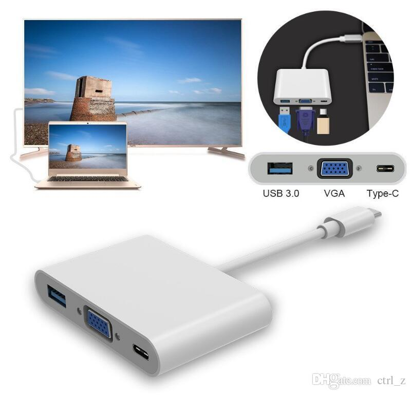 USB 3.1 Type-C to VGA/ USB 3.0/ Type C Adapter Converte Hub Converter Charger Adapter for Macbook Laptop USB-C