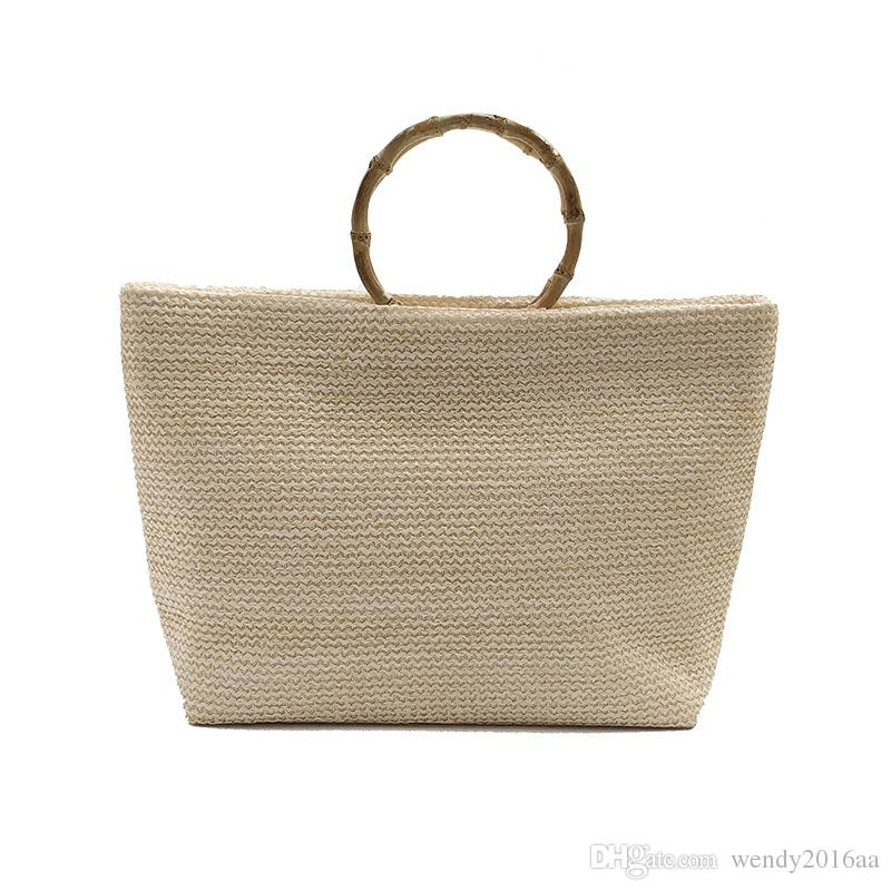 4e86dc7580b8f 2018 Straw Totes Women Large Capacity Flap Plain Handbag Black Khaki Brown  Ladies Beach Bags Straw Totes Handbags Beach Bags Online with  21.62 Piece  on ...