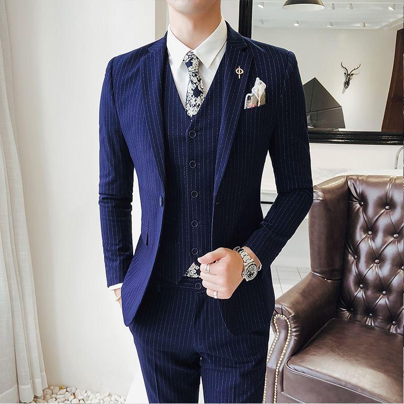 2019 Hohe Qualität Zweireiher Männer Anzüge Mode Streifen Männer Slim Fit Business Hochzeit Anzug Männer S Zu 5xl Anzüge jacke + Weste + Hosen Anzüge & Blazer