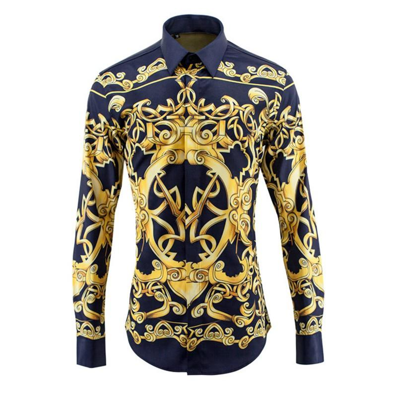 f08c32c815 Luxury Men Shirt New Fashion Designer Brands Fancy Shirts Mens Striped Slim  Long Sleeve Baroque Glod Froal Royal Mens Clothes