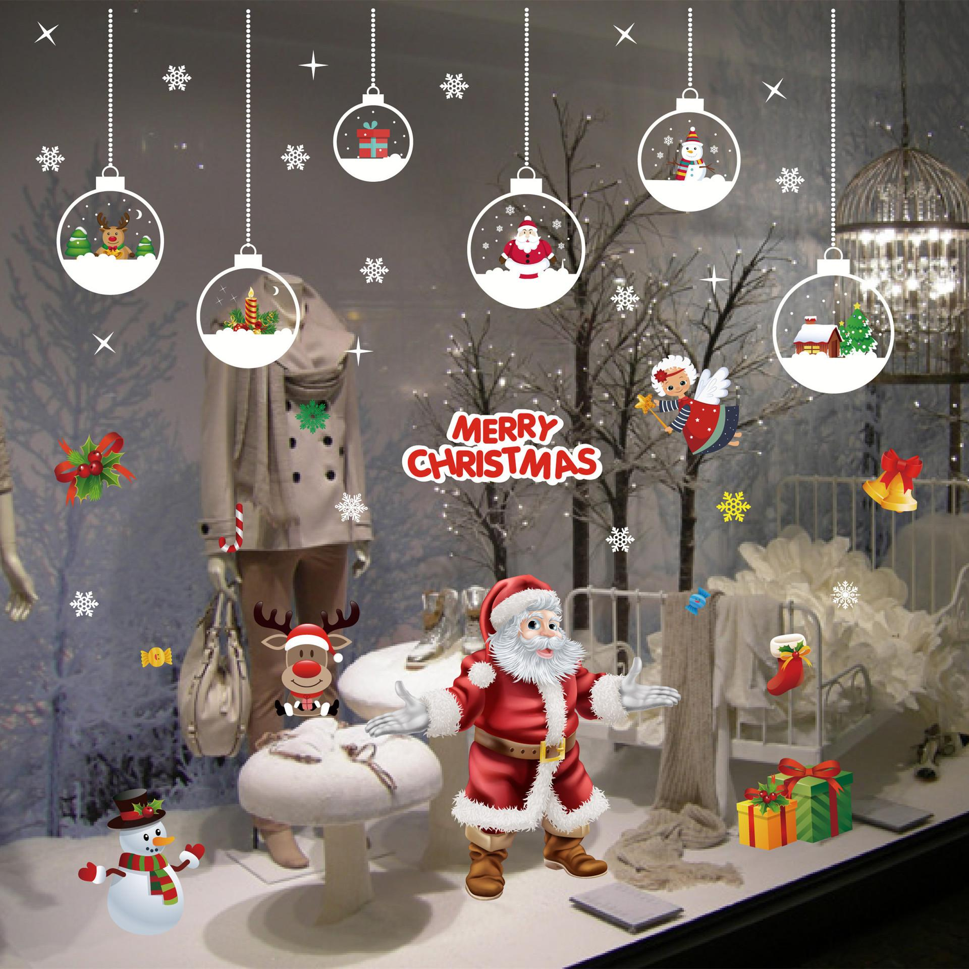 christmas window sticker glass wallpaper christmas snowflake shop decoration sticker cartoon snowman sticker explosive wholesale christmas 2 electrostatic