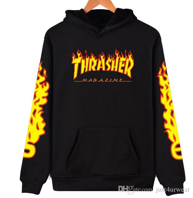 837cdf16 Mens Women Clothes Hooded Pollover Sweatshirt Fashion Brand THRA Letter  Flame Print Casual Hoodies Lovers Streetwear Sweater Hoodies