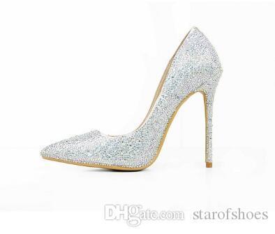 2018 Silver Studded Crystal High Heels Women Shoes Sexy Pointed Toe Bridal Wedding Shoes Kim Kardashian Style Women Pumps