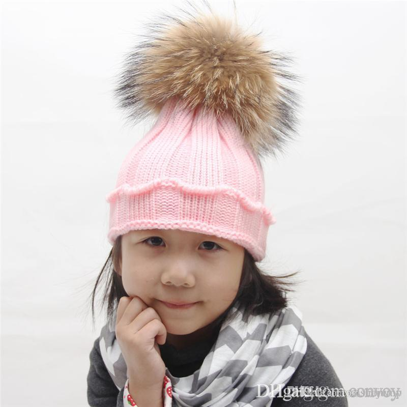 853be545819 2019 Baby Winter Hats Super Warm Beanie Crochet Knitting Beanies Outdoor Hat  Children Wool Knitted Caps Warm Beanie 15cm Fluffy Balls BH40 From  Aishajump