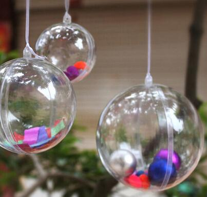 10pcs Transparent Ball Clear Plastic Ball for Wedding Candy Box Favors Gift Bag New Year Christmas Tree Decorations