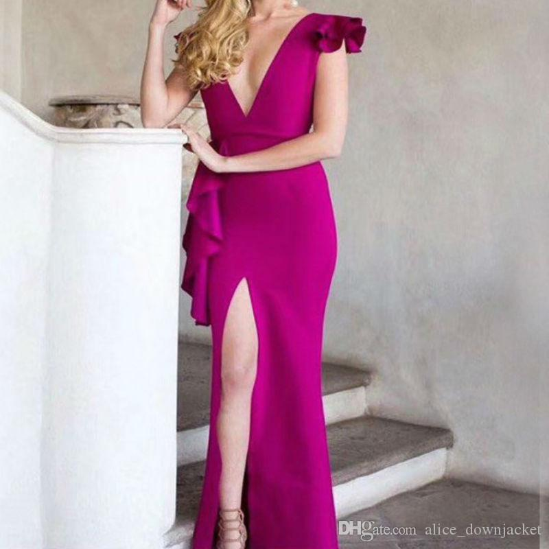 New Fashion Sexy Women Bodycon Bandage Dress Purple Red Deep V-Neck Summer Long Dress Vestido Wedding Evening Club Party Dresses