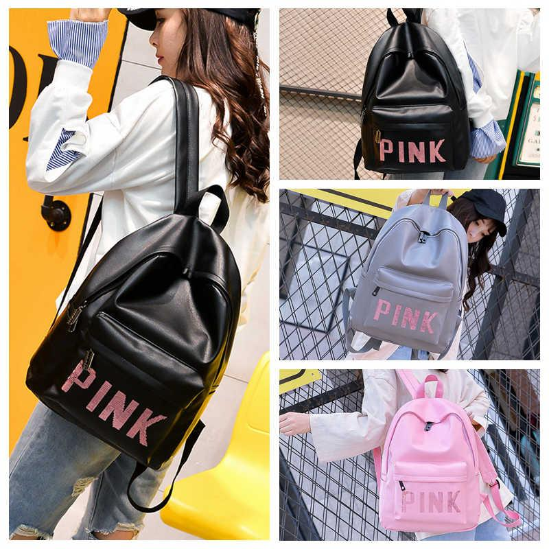 Pink Letter Sequins Backpack Teenagers Girls PU Waterproof Travel ... a1531dd0cc4ba