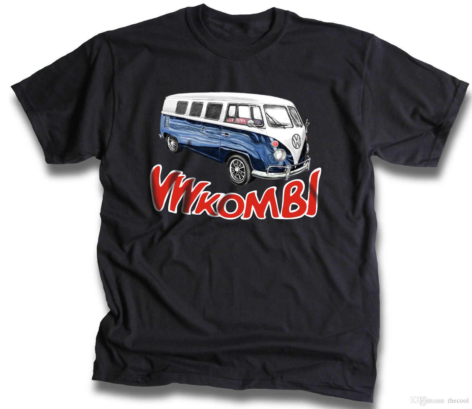 f643fd7d5 Compre 1955 Vw Combi Van Camiseta Mão Desenhada Por Greg Alach Preto Sm 4XL  De Thecool