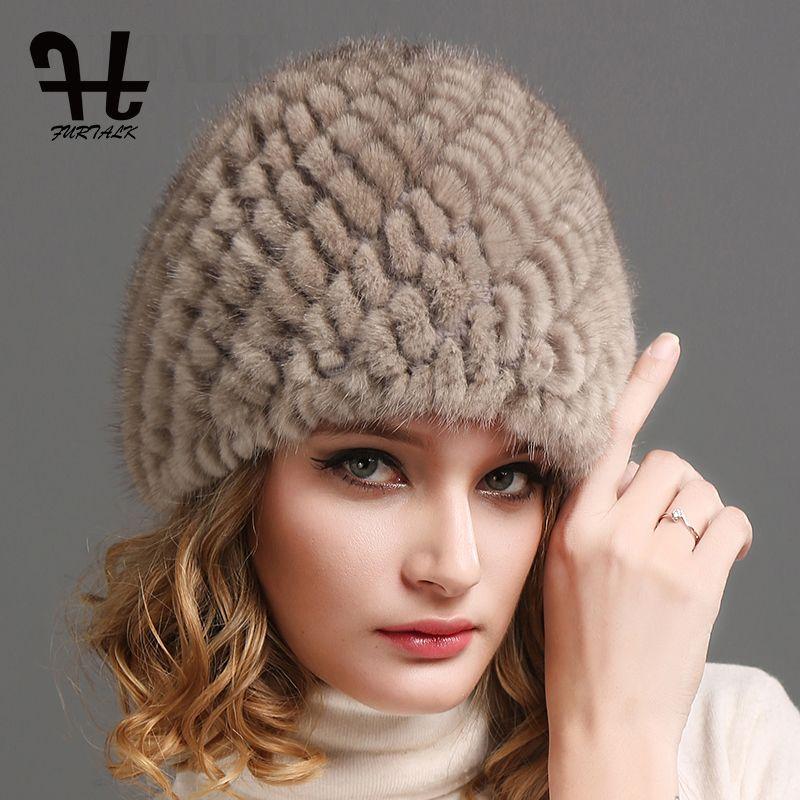 79b254ecbae FURTALK Women Luxury Knit Mink Fur Hat Winter Fur Hat Russian Women Natural Fur  Cap Winter Hat Beanie For Women D18110102 Skull Caps Stocking Cap From ...