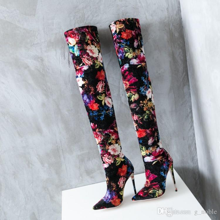 2018 Hot Selling Floral Printing Pointy Thigh High Boots Sexy Stiletto Heel Stretch Extra Long Boots Lady Dancing Nightclub Booties