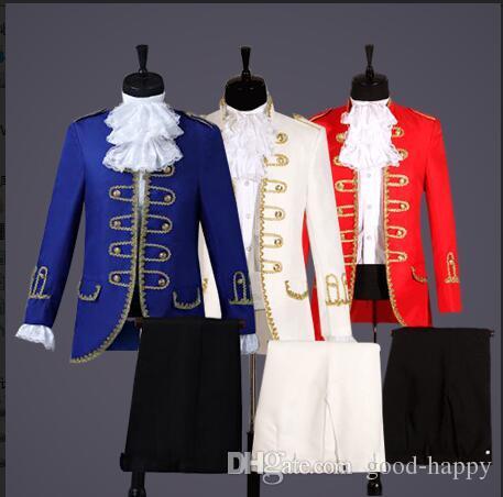 Yeni Tasarlanan Kraliyet Mavi / Beyaz / Kırmızı Damat Smokin Erkek Mahkemesi takım elbise Resmi Takım Elbise Erkek Kostümleri Balo Yemeği Takımları Özel Made Ceket + Pantolon NO; 8