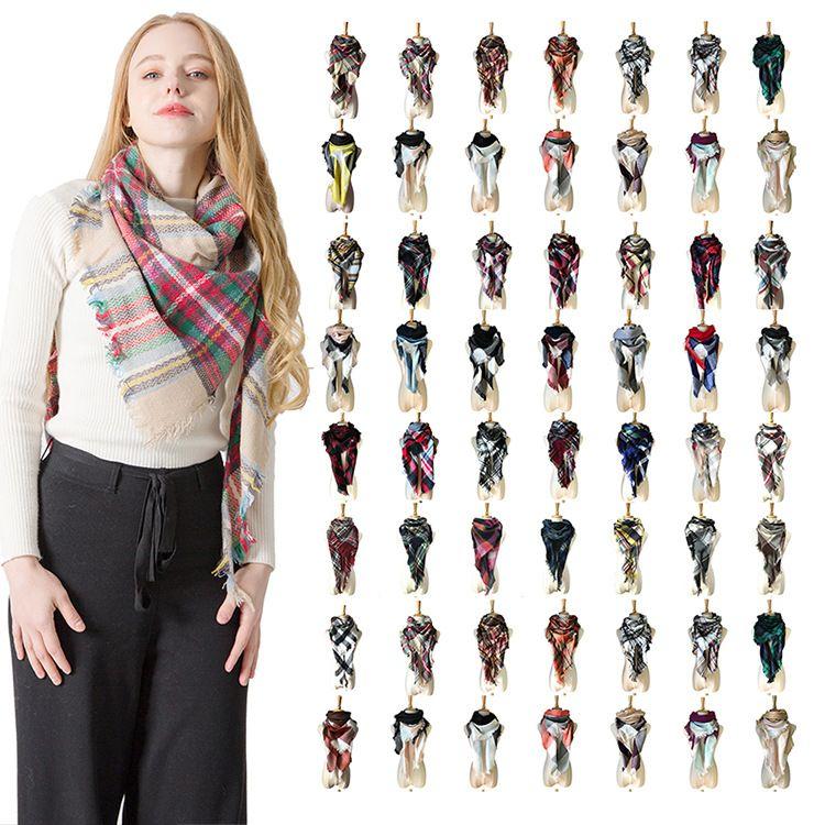 f7391ea976fc Womens Plaid Scarf Winter Neckerchief Girl Grid Tassel Cashmere Scarves  Oversized Wrap Shawl Tartan Lattice Blanket Women Christmas NEW Women Scarf  Fashion ...