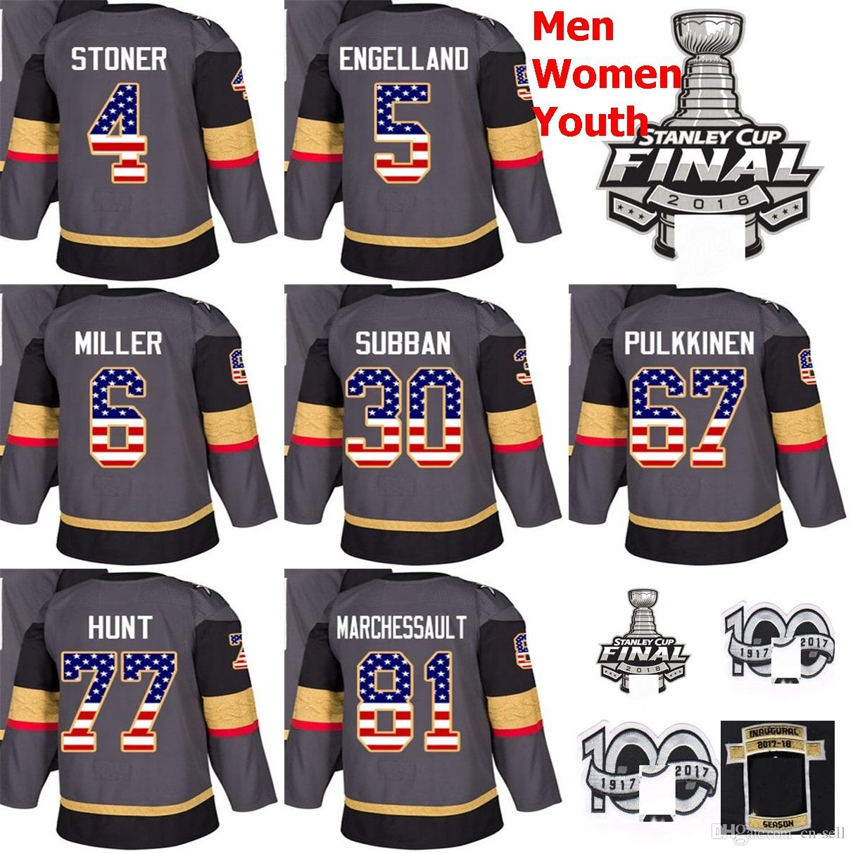 4755bf612 2018 2018 Stanley Cup Final Patch Clayton Stoner Marchessault Miller  engelland Pulkkinen Brad Hunt Subban Vegas Golden Knights Hockey Jersey  From Cn Sell