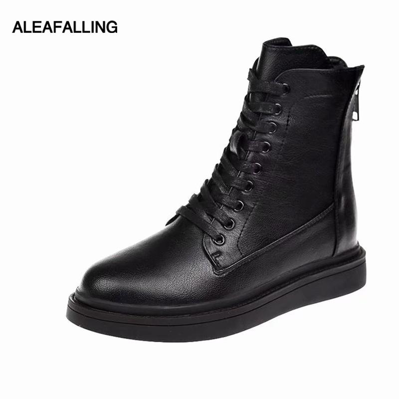 Aleafalling women boots back zipper mature boots woman shoes flat with  shoes woman pu leather ankle lace up botas WBT282