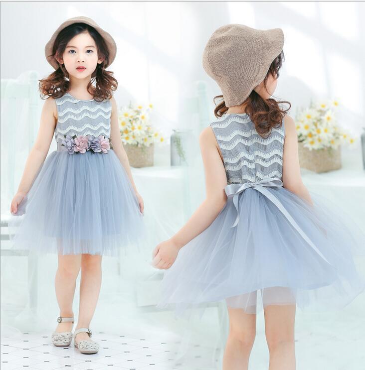 5e75e95ea60c 2018 Summer Style 2-6 Girls Dress Korean Children's Lace Vest Princess Dress  Cotton Sleeveless Wave Best Gift for Kids