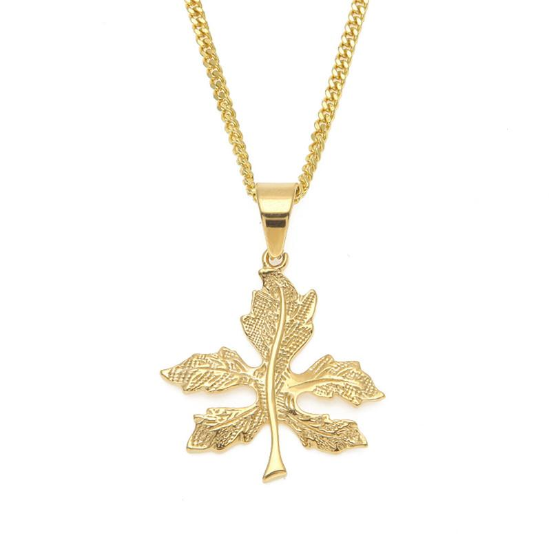 Wholesale leaf pendant new design gold plated stainless steel wholesale leaf pendant new design gold plated stainless steel pendant necklace 60cm cuban chain male and female necklace chain necklace mens necklace from aloadofball Image collections