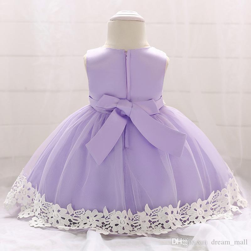 Yenidoğan Bebek Dantel Çiçek Kız Elbise Toddler Doğum Günü Balo Parti Tutu Kıyafeti Çocuk Giysileri