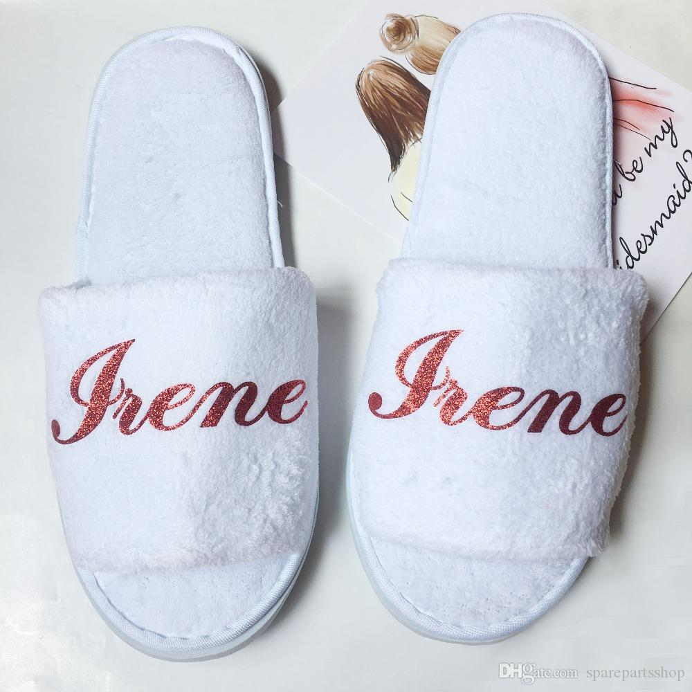 Bridesmaid Slippers Personalized Gifts Maid Of Honor Gift Idea For Bridesmaids  Wedding Bridal Shower Party Wholesale Unusual Wedding Favours Wedding ... 4b996678bd33