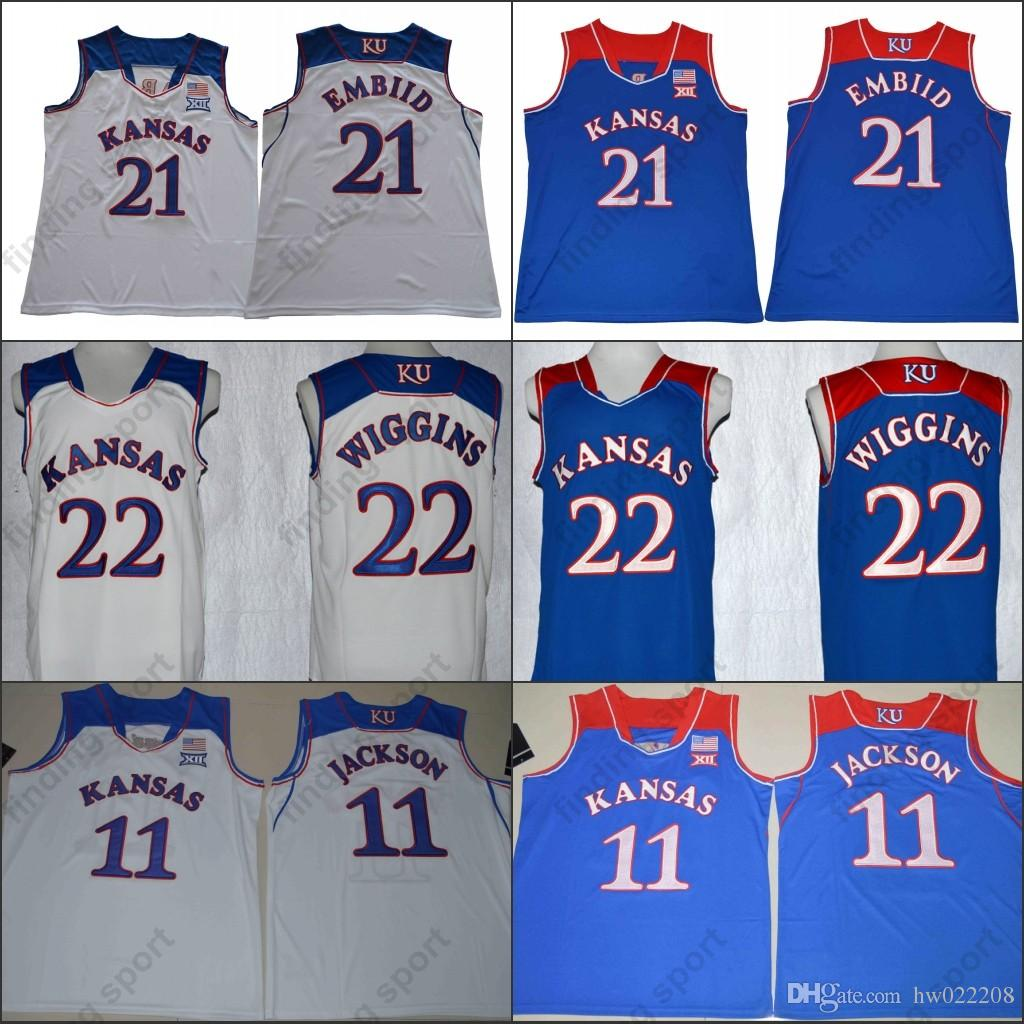9e22f053b NCAA Kansas Jayhawks 13 Wilt Chamberlain 21 Joel Embiid 22 Andrew Wiggins  11 Josh Jackson College Basketball Jerseys Online with  21.31 Piece on ...