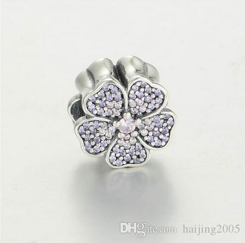 ca3f20882 2019 Fits European Pandora Charm Bracelet Pave Primrose Charms With Pink &  Purple CZ 925 Sterling Silver Jewelry LW535 From Haijing2005, $29.36 |  DHgate.Com