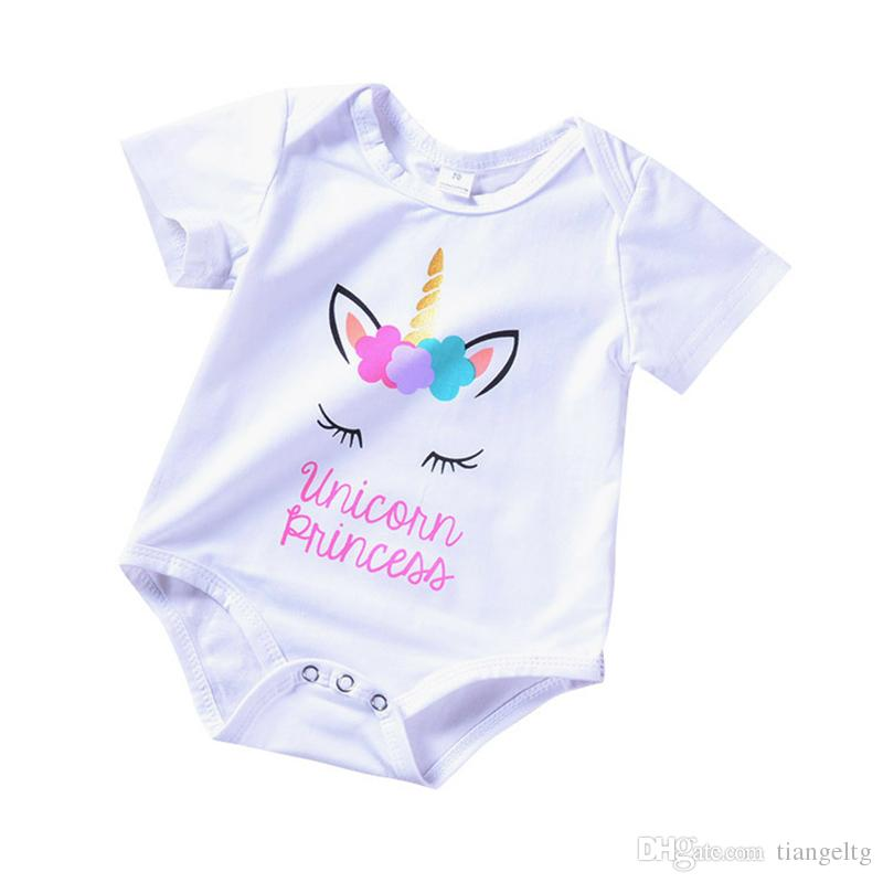 aac402b526ea 2019 Baby Jumpsuit Unicorn Printed Colorful Hair Summer Baby Girls ...