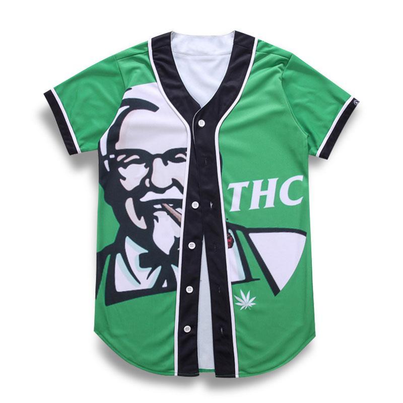 1317af7d95c9 Großhandel Kurzarm 3d T Shirt Männer Baseball Jersey Casual Slim Fit V  Ausschnitt T Shirt Europäische Herrenmode T Shirt Grün T Tops Kleidung Von  ...