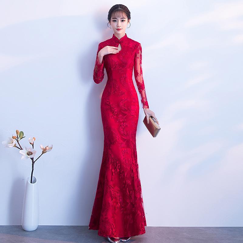 detailed look 31ebc 6ced0 DW013 Frauen Rot Kleider Langarm Abendkleid Lange Spitze Cheongsam Hochzeit  Chinese Qipao Elegante Braut Kleid