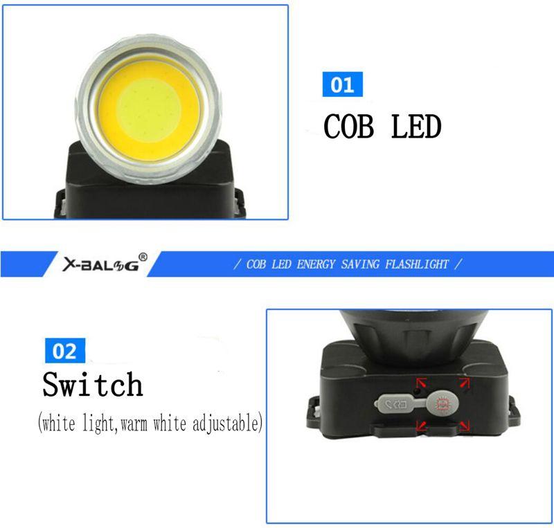 COB LED Proiettore USB Ricarica faro Bianco Luce Bianco caldo Regolabile Impermeabile Torcia esterna Emergenza Camping Pesca luce