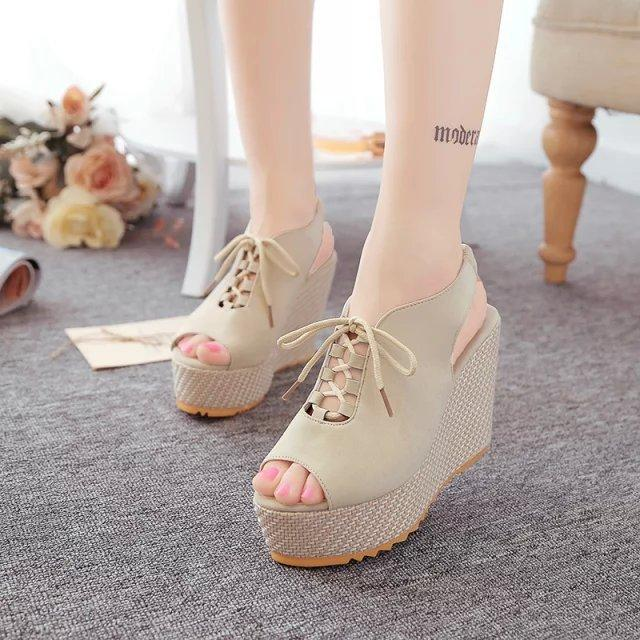 931afd3932f Ladies Thick-soled Platforms High-heeled Casual Lace Belt New Wedges ...