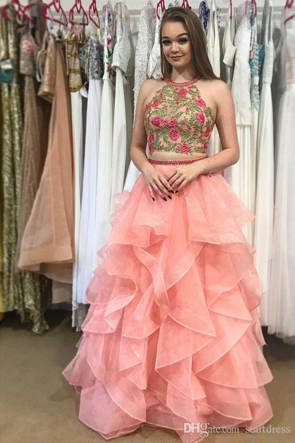 Custom Coral Halter Top Beaded Prom Dresses Floor Length Organza Best Ruffles Evening Gowns Sexy Backless 2018 african Party Sepcial