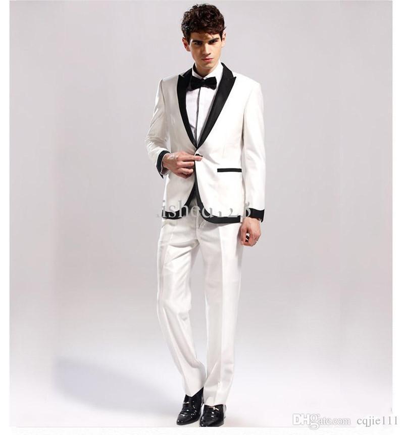 Yeni Custom Made Fildişi Siyah Yaka Damat Smokin Adam Düğün Balo Resmi Damat Suit Ceket + Pantolon + Papyon 38