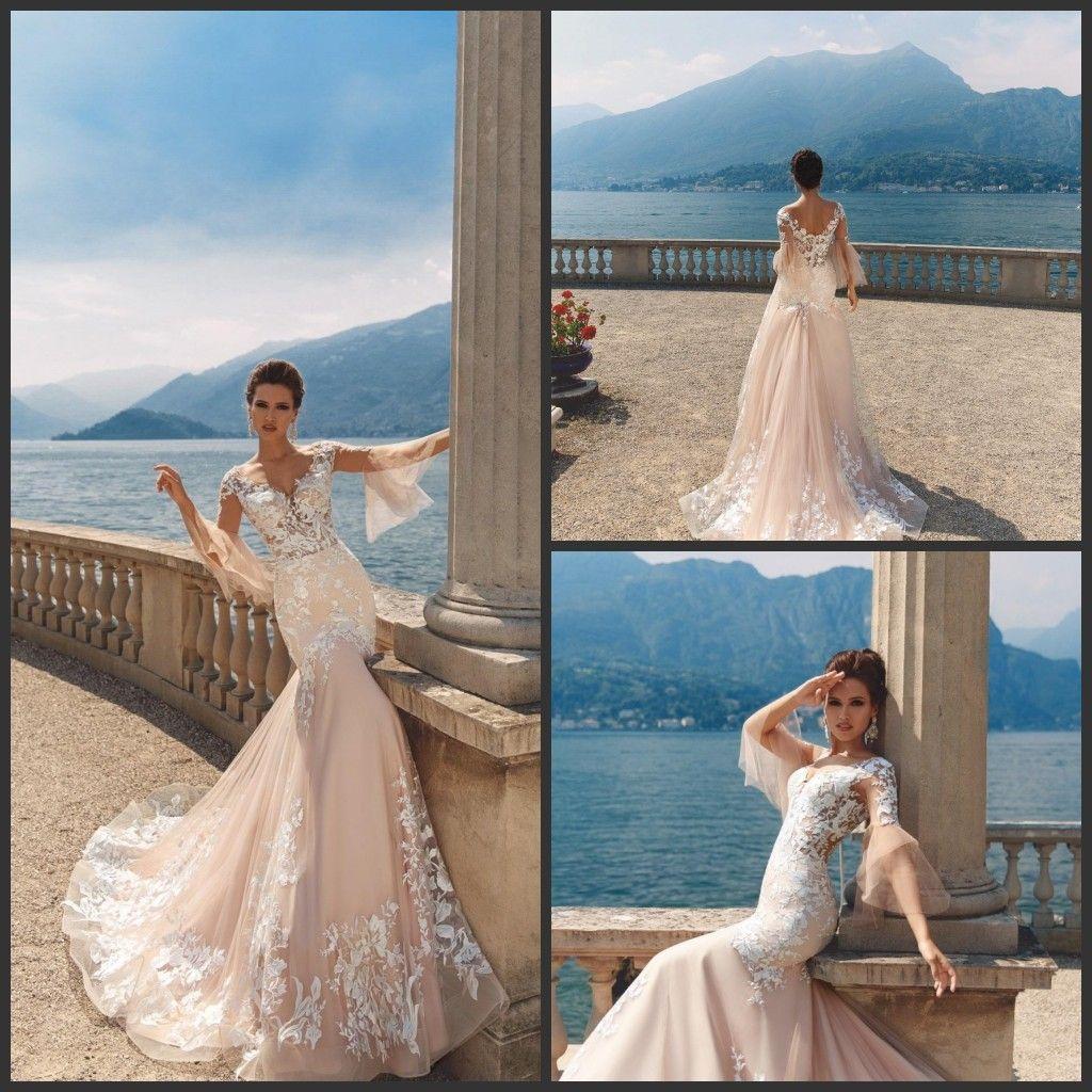 2018 Milla Nova Champagne Mermaid Wedding Dresses With White Lace ...