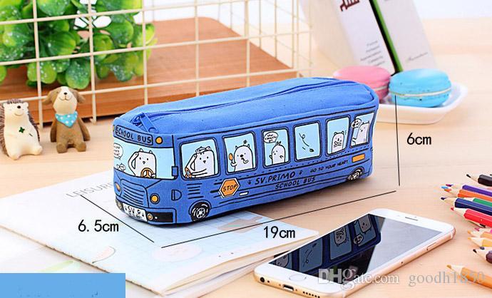 Fashion bus shape pencil bags,good canvas maerials office and school students pen case bag,four colours one size