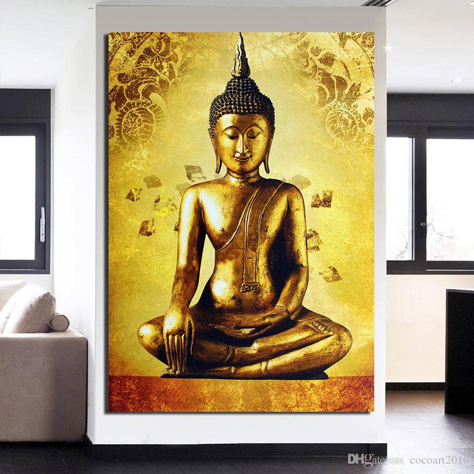Canvas Art Golden Buddha Framed Art Canvas Painting Posters And ...