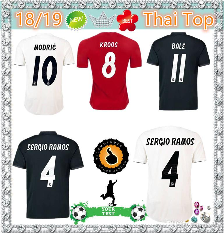 774b98760f9 2019 Top Thailand Quality 2018 2019 New Real Madrid 10 MODRIC MARCELO  Soccer Jersey BALE ASENSIO ISCO RAMOS Champions League Home Third Kit Jerse  From ...
