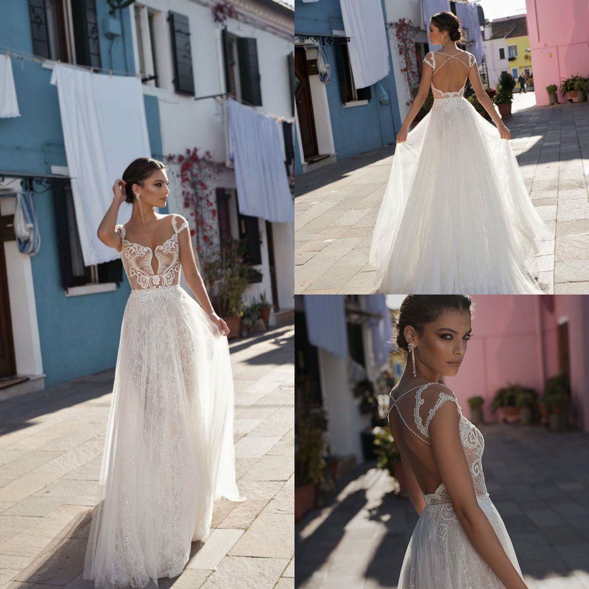 Discount 2018 Gali Karten Bohemian Wedding Dresses Cap Sleeve Lace ...