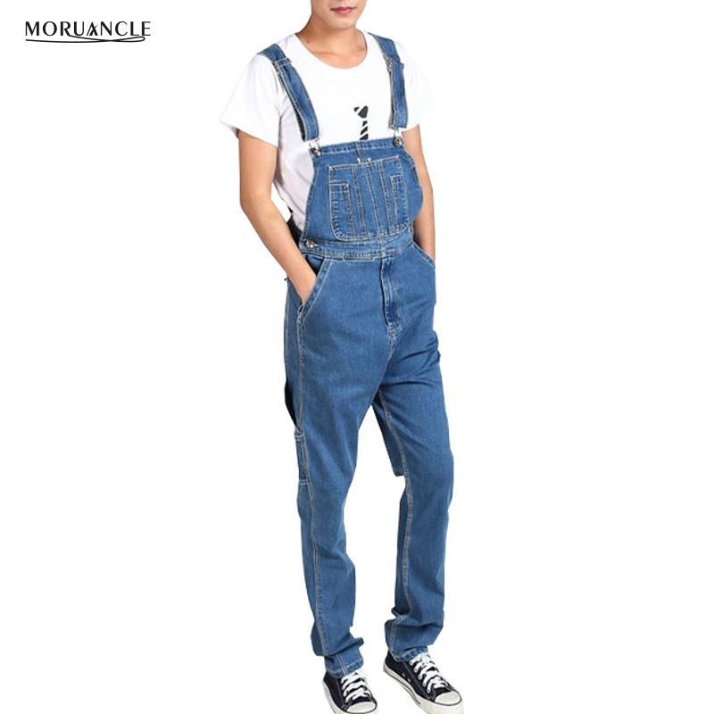 31a1745c12 Compre MORUANCLE Hombres De Talla Grande Cargo Denim Babero Overoles  Sueltos Sueltos Jeans Monos Para Hombre Pantalones De La Correa Bolsillos  Múltiples ...